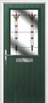 Cottage Half Glazed Fleur Composite Front Door in Green