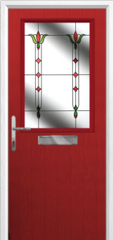 Cottage Half Glazed Fleur Composite Front Door in Red
