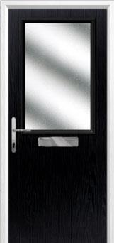 Cottage Half Glazed Composite Front Door in Black