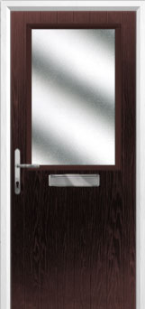 Cottage Half Glazed Composite Front Door in Darkwood