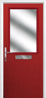 Cottage Half Glazed Composite Front Door in Red