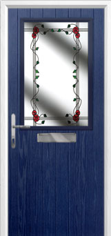 Cottage Half Glazed Mackintosh Rose Composite Front Door in Blue