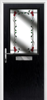 Cottage Half Glazed Mackintosh Rose Composite Front Door in Black