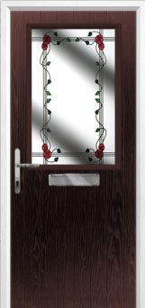 Cottage Half Glazed Mackintosh Rose Composite Front Door in Darkwood