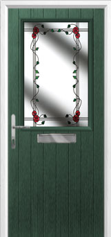 Cottage Half Glazed Mackintosh Rose Composite Front Door in Green