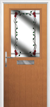 Cottage Half Glazed Mackintosh Rose Composite Front Door in Oak