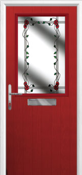 Cottage Half Glazed Mackintosh Rose Composite Front Door in Red