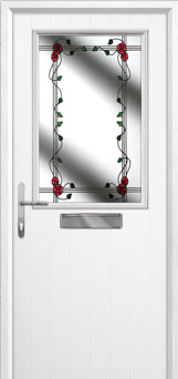 Cottage Half Glazed Mackintosh Rose Composite Front Door in White