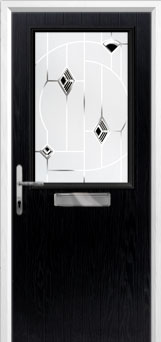 Cottage Half Glazed Murano Composite Front Door in Black
