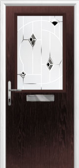 Cottage Half Glazed Murano Composite Front Door in Darkwood