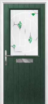 Cottage Half Glazed Murano Composite Front Door in Green