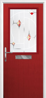 Cottage Half Glazed Murano Composite Front Door in Red