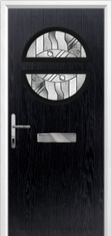 Circle Abstract Composite Front Door in Black
