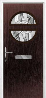 Circle Abstract Composite Front Door in Darkwood
