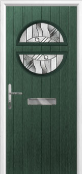 Circle Abstract Composite Front Door in Green