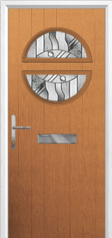 Circle Abstract Composite Front Door in Oak
