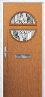 Circle Abstract Composite Front Door in Oak