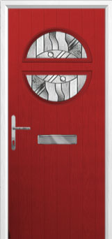 Circle Abstract Composite Front Door in Red