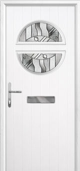 Circle Abstract Composite Front Door in White