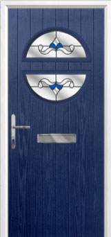 Circle Crystal Bohemia Composite Front Door in Blue