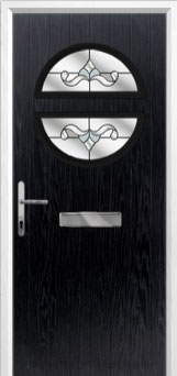 Circle Crystal Bohemia Composite Front Door in Black