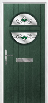 Circle Crystal Bohemia Composite Front Door in Green