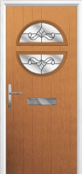 Circle Crystal Bohemia Composite Front Door in Oak