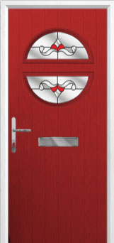 Circle Crystal Bohemia Composite Front Door in Red