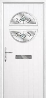 Circle Crystal Bohemia Composite Front Door in White