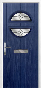 Circle Crystal Harmony Composite Front Door in Blue