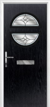 Circle Crystal Harmony Composite Front Door in Black