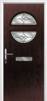 Circle Crystal Harmony Composite Front Door in Darkwood