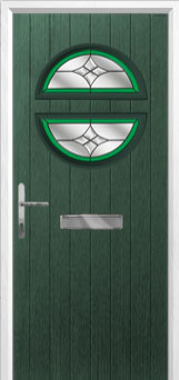 Circle Crystal Harmony Composite Front Door in Green