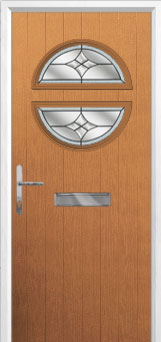 Circle Crystal Harmony Composite Front Door in Oak