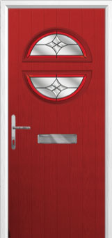 Circle Crystal Harmony Composite Front Door in Red