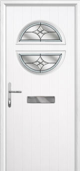 Circle Crystal Harmony Composite Front Door in White