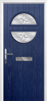 Circle Zinc/Brass Art Clarity Composite Front Door in Blue