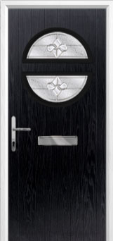 Circle Zinc/Brass Art Clarity Composite Front Door in Black