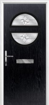 Circle Zinc/Brass Art Clarity Composite Front Door in Black