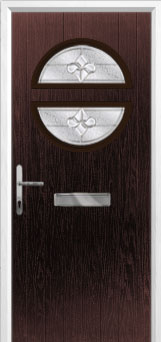 Circle Zinc/Brass Art Clarity Composite Front Door in Darkwood