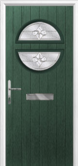 Circle Zinc/Brass Art Clarity Composite Front Door in Green