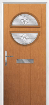 Circle Zinc/Brass Art Clarity Composite Front Door in Oak