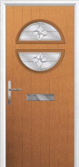 Circle Zinc/Brass Art Clarity Composite Front Door in Oak