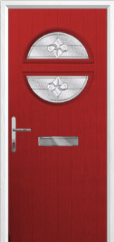 Circle Zinc/Brass Art Clarity Composite Front Door in Red