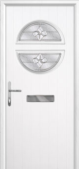 Circle Zinc/Brass Art Clarity Composite Front Door in White