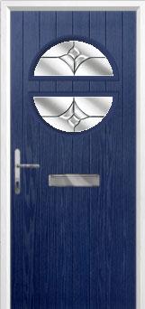 Circle Crystal Tulip Composite Front Door in Blue