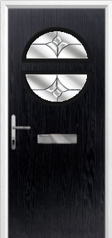Circle Crystal Tulip Composite Front Door in Black