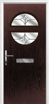 Circle Crystal Tulip Composite Front Door in Darkwood