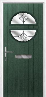 Circle Crystal Tulip Composite Front Door in Green
