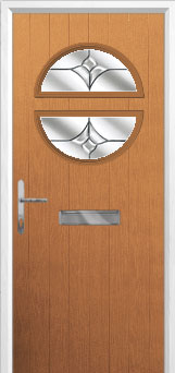 Circle Crystal Tulip Composite Front Door in Oak